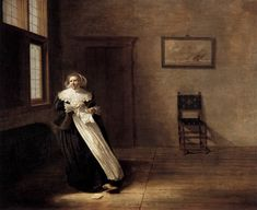 Woman Tearing a Letter, by Dirck Hals阿爾斯(1591-1656)荷蘭畫家Frans Hals弟弟。