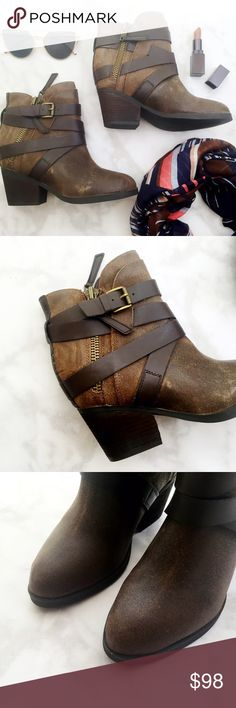 """Steve Madden Distressed Brown Ankle Boots Details: • Size 7 • Distressed leather • Side zip closure  • 2.5"""" stacked heel • Brand new in box   07141622 Steve Madden Shoes Ankle Boots & Booties"""