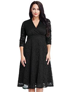 Womens Lace Plus Size Mother of the Bride Skater Dress Bridal Wedding Party Black 20W ** You can find out more details at the link of the image.