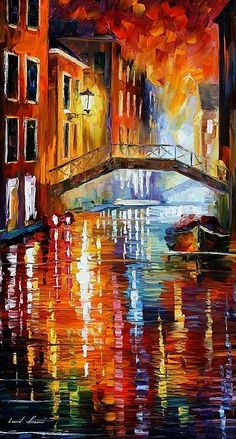 These colors are amazing....Venice, Italy by Leonid Afremov, artist