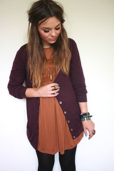 plum cardigan, burnt orange dress and leggings