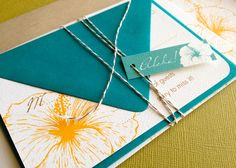 TWINE COLLECTION- Deposit Vintage Hawaiian invitation, orange and peacock blue by InvitaPaperStudio on Etsy https://www.etsy.com/listing/101009087/twine-collection-deposit-vintage