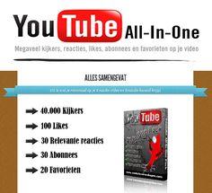 Youtube All In One Pakket: Dit is wat je minimaal mag verwachten op je Youtube video: 40.000 kijkers 100 likes 30 relevante reacties 30 extra abonnees 20 favorieten