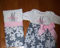 This sweet hot pink and gray newborn gift set includes a newborn gown, a 100 % cotton premium 6 ply diaper burp cloth with damask print gray fabric and hot pink trim ribbon and a shabby chic flower headband with tiny gray and white chevron bow. They include a Script letter and babys name.  This set can be customized using your choice of colors or designs. Please include childs name and any custom colors in notes to seller. Convo me for more information or questions on custom orders.