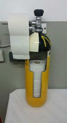 #DIY #Firefighter Idea: Recycle a old air bottleand convert it into a toilet paper holder. #fireprotection #DIYCrafts #DIYIdeas #recycleandreuse