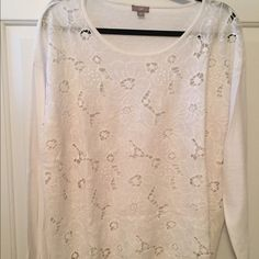 Beautiful J. Jill Sweater Long sleeve. 67% Linen, 23% poly, 10% rayon. Floral cut outs. Never worn - like new condition. J. Jill Sweaters Crew & Scoop Necks