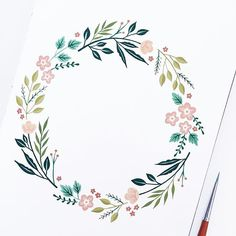 Here's a little wreath I painted (Winsor and newton gouache + brush, archer and olive sketchbook).