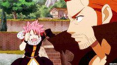 Natsu, Gildarts, funny, gif; Fairy Tail