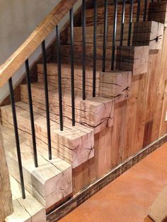 Reclaimed barn beam stairs – Interior and architecture - Diy Furniture Farmhouse Stairs, Rustic Stairs, Wood Stairs, Basement Stairs, Stair Railing, Porch Stairs, Railing Ideas, Railings, Basement Ideas