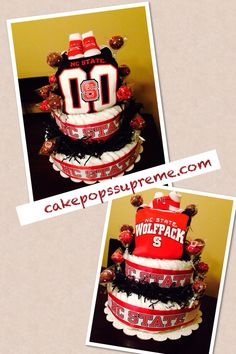 NC State theme on Diapers cake and cake pops