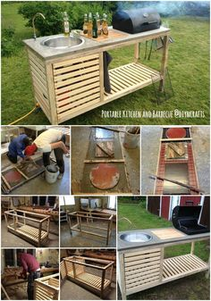 Brilliant Outdoor Project: Build Your Own All-in-One Portable Kitchen and Barbecue. diy kitchen projects Brilliant Outdoor Project: Build Your Own All-in-One Portable Kitchen and Barbecue Backyard Projects, Outdoor Projects, Diy Projects, Built In Grill, Ideias Diy, Outdoor Kitchen Design, Kitchen Seating, Kitchen Cart, Diy Kitchen