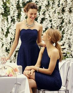 Gorgeous #bridesmaid dresses | Ann Taylor This is what I'd do, navy and different individual styles
