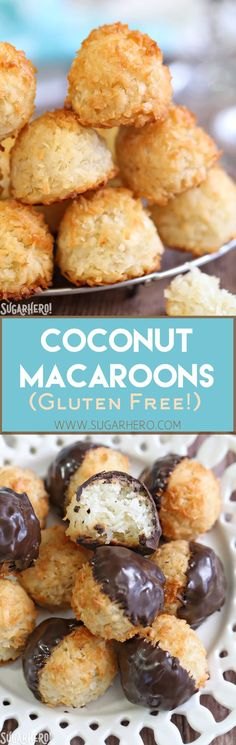 Coconut Macaroons - gluten-free coconut cookies made with just a handful of ingredients! Crispy on the outside, soft and chewy on the inside.   From SugarHero.com