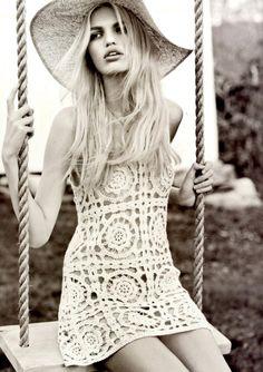 Crochet dress and a big floppy kentucky derby hat. summer hot blonde day