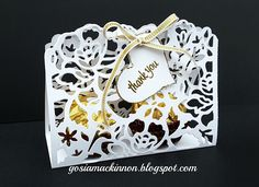 Independent Stampin' Up ! Demonstrator Gosia MacKinnon: DETAILED FLORAL THINLITS WEDDING GUEST THANK YOU GIFT BOX BY STAMPIN UP