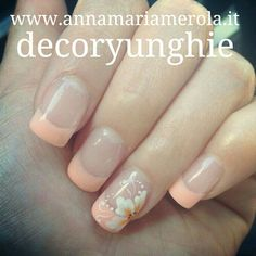 Peach French Manicure With White Flower Nail Art Design