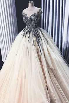 Light Champagne Sheer Neck Tulle Prom Dress with Beading, Puffy Floor Length Sequined Party Dress #lightchampagne #tulle #promdress #dress #party #sequin #puffy