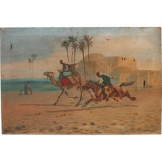 Oriental Oil Painting by English Artist John Coulson 1924 with Horse and Camel