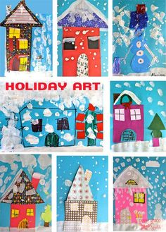 Gather some craft paper, white paint and scissors and enjoy the process of creating holiday art cards with your students and kids.