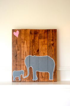 Reclaimed wood art sign: Mom and Baby Elephant Love with heart