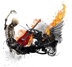 Design for a guitar bag by JustAboutArt  #skull #fire #guitar #digitalart