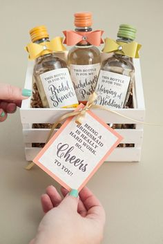 A Box of Mini Bottles of Vino for your bridesmaids as a gift