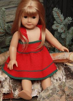 Ravelry: 2011 Xmas Pattern pattern by Målfrid Gausel Doll Patterns Free, Doll Clothes Patterns, Knitting Patterns Free, Free Pattern, Crochet Doll Dress, Crochet Doll Clothes, American Doll Clothes, Ag Doll Clothes, Girl Dolls