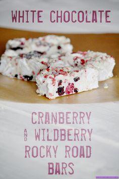 white chocolate cranberry & wildberry rockie road bars