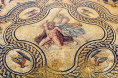 Mosaïque représentant l'histoire de Penthée datée de la fin du IIe s. ou du début du IIIe s. de notre ère. Fouille de l'avenue Jean Jaurès à Nîmes en 2007-2008. Ici un médaillon quadrilobé figurant le meurtre de Penthée par sa mère Agavé...