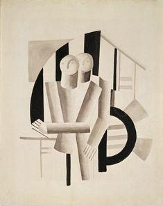 'deux hommes', aquarelle de Fernand Leger (1881-1955, France)