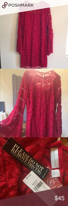 New York & Co. Red Lace dress - New w/ Tags New York & Co. Red Lace dress -long-sleeved -New w/ Tags! (Originally bought for a NYE wedding and ended up wearing something else & Lost the receipt for return) New York & Company Dresses Long Sleeve