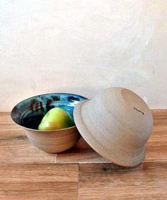 Ceramic Bowl Turquoise Serving Bowl Set Of 2 Rustic bowls Pottery Bowls, Ceramic Bowls, Stoneware, Pottery Gifts, Handmade Pottery, Kitchen Interior Inspiration, Large Fruit Bowl, Rustic Bowls, Serving Bowl Set
