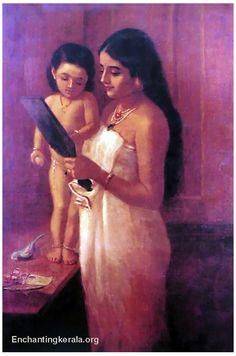 Raja Ravi Varma, Looking into the Mirror. Kerala Painting