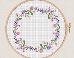 flowers cross stitch pattern Lavender Helleborus floral wreath cross stitch Round cross stitch pillow Counted cross stitch modern diy gift