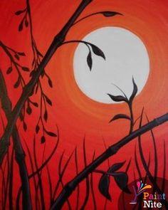 Bamboo - www.paintnite.com - #PaintNite #Art #DIY #DrinkCreatively #Red #Moon