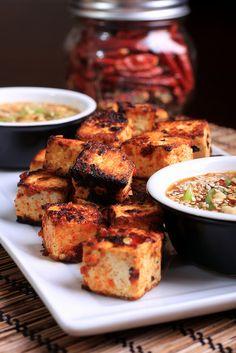 Grilled Sambal Oelek Tofu with Peanut Butter Sauce