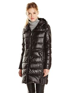 Vince Camuto Women's Mid Length Lightweight Down Coat, Black, Medium   #FreedomOfArt  Join us, SUBMIT your Arts and start your Arts Store   https://playthemove.com/SignUp