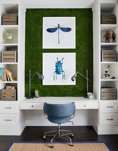 In University Park, Texas, a mother enlists a designer to create a bedroom around her 6-year-old son's interests. The study area shown here has artificial turf on the walls, a built-in desk and colorful prints of beetles.