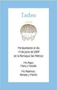 Estampitas De Bautismo Ilustradas Personalizadas Para Varón Baptism Cookies, Baby Scrapbook, First Communion, Religion, Place Card Holders, Invitations, Party, How To Make, Crafts