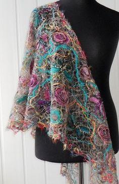Handmade shawl crazy wool technique for women by crazywoolLT, $98.00