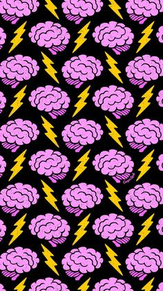 Brains Cute Spooky Creepy Halloween Brain Lightning Electric Repeat Pattern Wallpaper Phone iPhone M Et Wallpaper, Handy Wallpaper, Wallpaper Animes, Aesthetic Iphone Wallpaper, Lock Screen Wallpaper, Pattern Wallpaper, Wallpaper Backgrounds, Aesthetic Wallpapers, Iphone Backgrounds