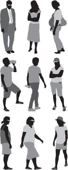 Vectores libres de derechos: Casual people in different poses