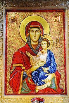 Madonna y niño, Biserica Curtea Veche Iglesia, San Antón Viejo Corte Iglesia, Bucarest, Rumania, Europa del Este