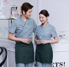 Waitress uniform suit Summer Japanese restaurant uniforms Men Sushi chef uniform