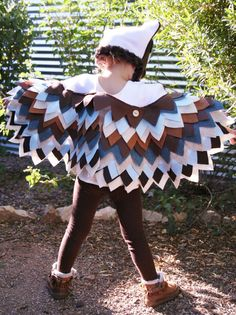 Owl Costume Sizes 18 months- 4T in Blue & Brown Colors- Imagination Play- Dress Up- Halloween
