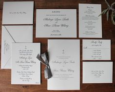 MK monogram. Custom wedding invitation suite printed on Crace pearl white lettra 220#, Canson XL and Reich Savoy natural white. Black letterpress and black thermography. Peachtree Road United Methodist Church wedding. St. Regis Atlanta reception.