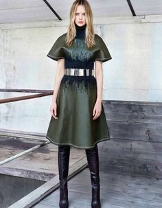 Rosie Tupper for Madame Figaro - Leather dress and boots - Balenciaga