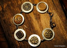 Mother of pearl and antique metal button bracelet