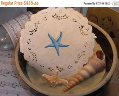 SALE Nautical Shell and Starfish Coffee Stained by LazyDayCottage