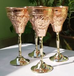 Handmade Pure Copper Wine Goblet, Size-12 Ounce